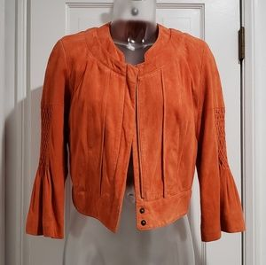 DVF Joan Jett Suede Cropped Jacket